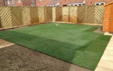 A new turf lawn area completed on a development site at Scunthorpe, North Lincolnshire