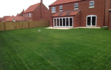 First cut on a new seeded lawn area at