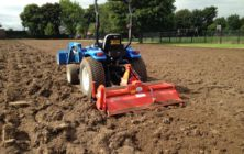Lincoln Gardens Primary school, Scunthorpe. Rotovating the old sports field preparing for re-seeding