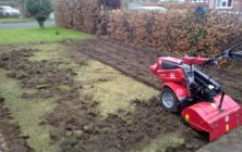 Scawby April 2012, rotovating up an old moss infested lawn preparing it for new turf