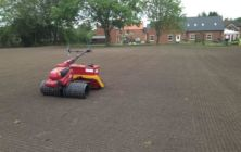 Seeding a new lawn at Market Rasen, Lincolnshire. Approximately 1 acre in size
