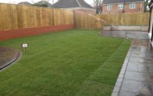 Turfing a lawn on a new build home at Healing near Grimsby