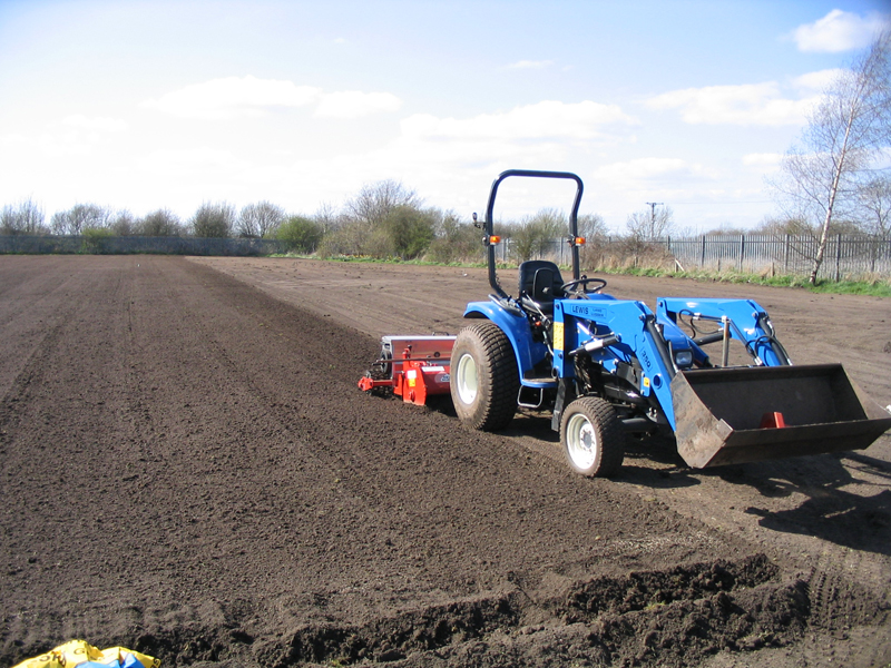 After ploughing and rotovating, seedbed preparation & seeding operation