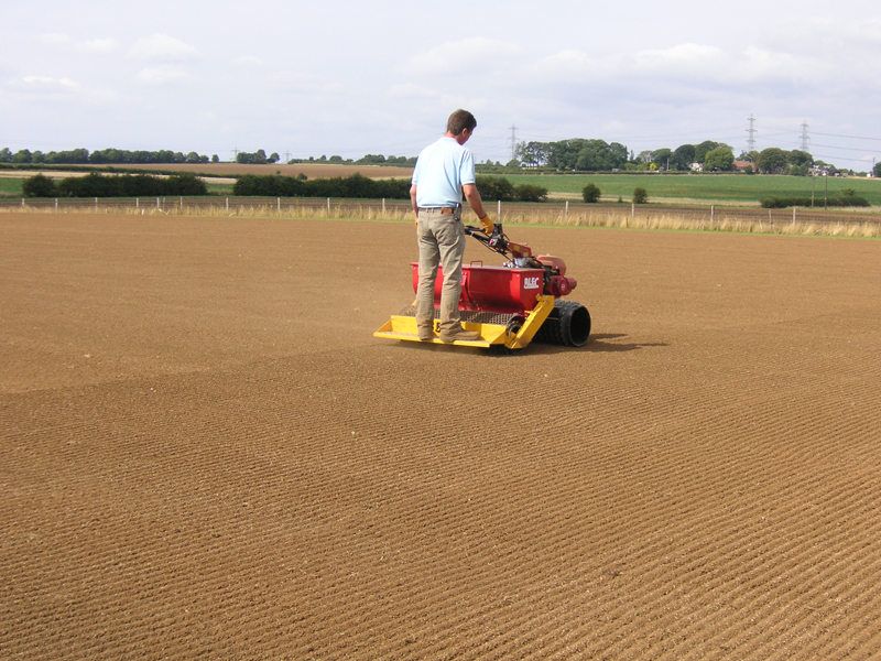 Seeding the area using the Culti-pack self propelled precision seeder
