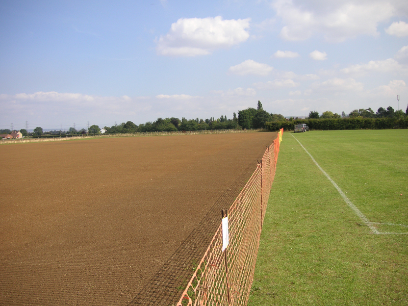 The completed area with temporary fencing for protection