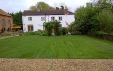 Grasby near Caistor. June 2011, a new turf lawn area created infront of an existing property